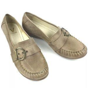 V Italia Leather Slip-on Loafer Flats